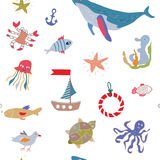 Sea life seamless pattern with funny design Royalty Free Stock Photography