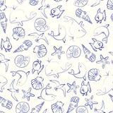 Sea Life seamless pattern Stock Photography