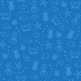 Sea Life Seamless Pattern In Blue Royalty Free Stock Photography