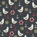 Sea life seamless pattern. Royalty Free Stock Image