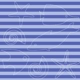 Sea life seamless pattern with stripes. Striped seamless pattern with sea animals Royalty Free Stock Image