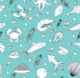 Sea life seamless pattern. Underwater endless background, texture. Hand drawing, sketch, line, doodle style. Vector Royalty Free Stock Photo