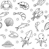Sea life seamless pattern. Underwater endless background, texture. Hand drawing, sketch, line, doodle style. Vector Royalty Free Stock Photography