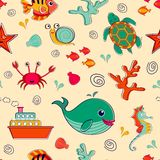 Sea life seamless pattern Royalty Free Stock Photography