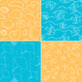 Sea life seamless patterns collection Stock Images