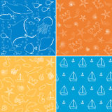 Sea life seamless patterns collection Royalty Free Stock Image