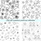 Sea life seamless patterns collection Royalty Free Stock Photos