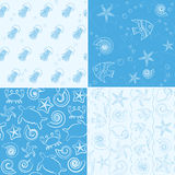 Sea life seamless patterns collection Stock Photo