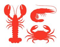 Sea life silhouette. Isolated sea life on white background Stock Images