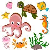 Sea life under water set Stock Photos