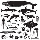 Sea Life and Underwater Animals Icons Royalty Free Stock Photography
