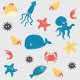 Sea life underwater cartoon animals Royalty Free Stock Image