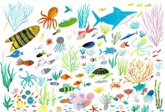 Sea life. Underwater world. Fish, jellyfish, sea bottom, algae, treasure. royalty free illustration