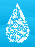 Sea life water drop. Waterdrop illustration made from sea creature silhouettes Stock Photography