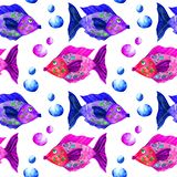 Sea life watercolor seamless pattern stock photography