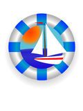 Sea lifebuoy ring. Emblem - a sea lifebuoy ring with a yacht in a vector Stock Image