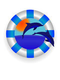 Sea lifebuoy ring. Emblem - a sea lifebuoy ring with dolphins in a vector Stock Images