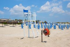 Sea lifeguard chair on the beach in Europe stock photography