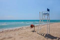 Sea lifeguard chair on the beach in Europe stock photos