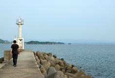 The sea and a lighthouse and angler of Wakayama. Japan royalty free stock image