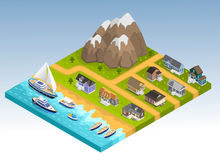 Sea Line Isometric Composition. Sea line scape composition with cottage estate isometric houses mountains and coastline with yachts cruisers and boats vector Stock Photo