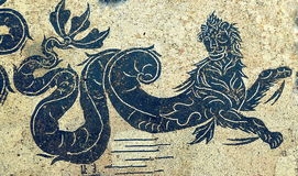 Sea lion. Or sea monster. Art made from mosaic in Ostia Antica Royalty Free Stock Photography