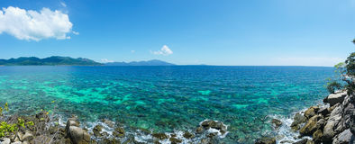 Sea with  Lipe island in Satun Thailand -Panorama Royalty Free Stock Photography