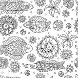 Sea live. Decorative seamless pattern with fishes. Royalty Free Stock Images