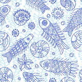 Sea live. Decorative seamless pattern with fishes. Textile and wallpaper sea background. Elements for your design. There is in addition a vector format (EPS 8 Royalty Free Stock Image