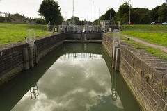 Sea lock on Lydney Canal. One of two sets of locks that allow access by boat to the River Severn, this is above the semi -tidal basin Royalty Free Stock Images