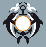 Sea logo. Anchor. Dolphin. Seagull Royalty Free Stock Photos