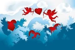 Sea of love - cupids on heart hunting Royalty Free Stock Photography
