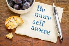 Sea más uno mismo enterado - consejo sobre servilleta Foto de archivo libre de regalías