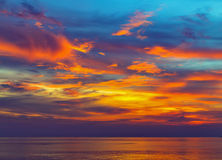 Sea majestic summer sunset Royalty Free Stock Images