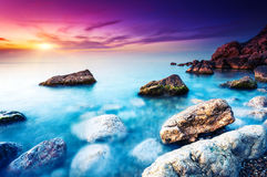 Sea. Majestic summer sunset over the sea. Dramatic sky. Crimea, Ukraine, Europe. Beauty world Royalty Free Stock Photos