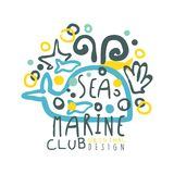 Sea marine club original logo design, summer travel and sport hand drawn colorful vector Illustration. Badge for yacht club, sailing sports or marine travel Stock Image