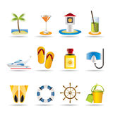 Sea, marine and holiday icons Royalty Free Stock Photos