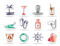 Sea, marine and holiday icons Stock Photography