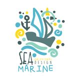 Sea, Marine logo design, summer travel and sport hand drawn colorful vector Illustration. For stickers, banners, cards, advertisement, tags Stock Image