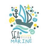 Sea, Marine logo design, summer travel and sport hand drawn colorful vector Illustration Stock Image