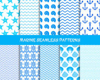 Sea and marine seamless patterns. Blue collection Stock Image