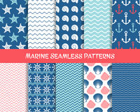 Sea and marine seamless patterns. Colorful collection Royalty Free Stock Photography