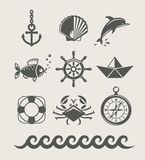 Sea and marine symbol set of icon Stock Photo