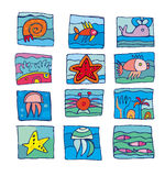 Sea marine underwater icons. Cute set of aqua underwater icons Stock Photo