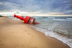 Sea mark buoy on the beach of Baltic sea Royalty Free Stock Photos