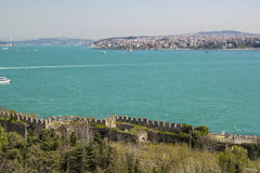 The Sea of Marmara, the Bosphorus Bridge and the Asian shore from the walls of Topkapi Stock Photography
