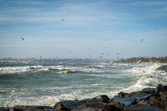 Sea of Marmara on a stormy day Stock Images