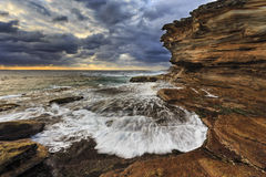 Sea Maroubra Front Wave R rock Royalty Free Stock Images