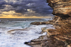 Sea Maroubra L Waves R rocks Royalty Free Stock Image
