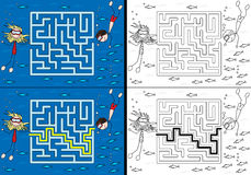Sea maze. For kids with a solution in color and black and white Royalty Free Stock Photo